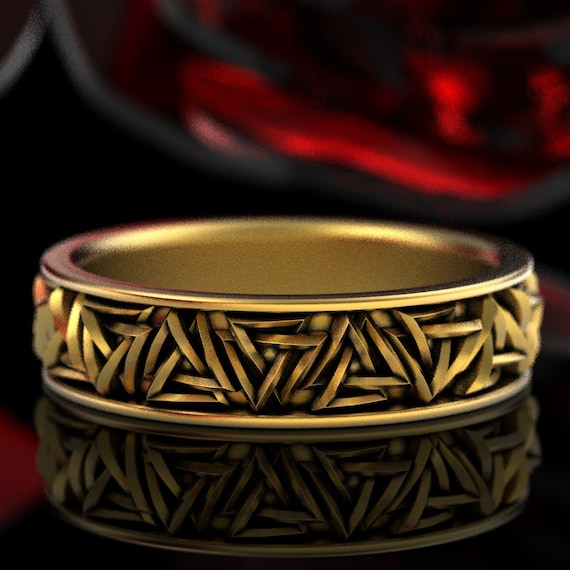 Gold Valknut Knot Ring, Viking Rune Ring, Odin Rune Jewelry, Gold Norse Ring, Viking Wedding Ring, Valknut Female Companion Knot Ring 1375