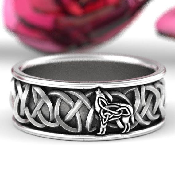 Sterling Silver Celtic Wolf Ring, Wolf Wedding Band, Celtic Animal Ring, Wolf Jewelry, Norse Wolf Ring, Viking Wolf Jewelry Custom Size 1170