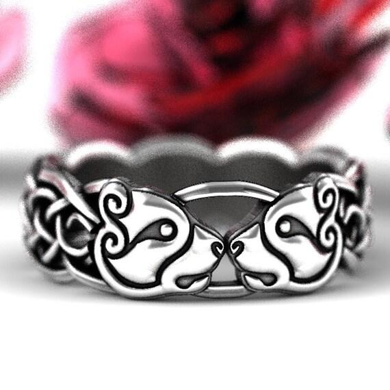 Bear Ring, Womens Celtic Bear Ring, Bear Wedding Band, Celtic Knot Ring, Celtic Animal Ring, Norse Bear Band, Irish Bear Wedding Ring 1192