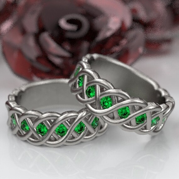 Celtic Wedding Ring Set with Emeralds 4 Cord Braided Knot Design in Sterling, 10K 14K 18K, Palladium, or Platinum Made in Your Size CR-1008