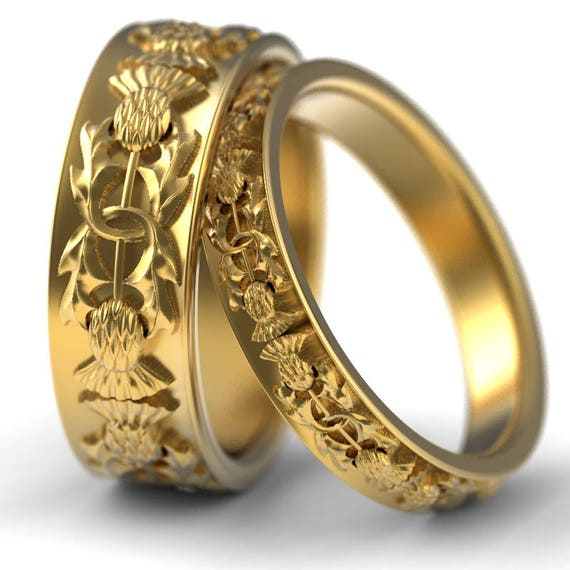 Gold Thistle Ring Set, 10K 14K & 18K Gold or Platinum Scottish Ring, Unique Rings for Her,Handcrafted Rings, 5057