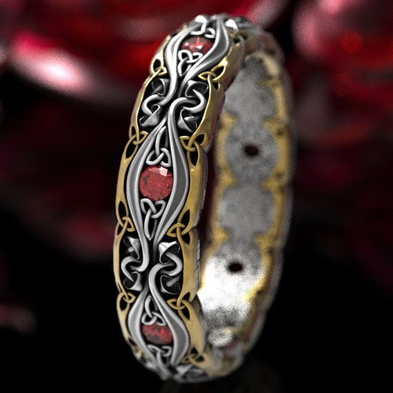 Celtic Mushroom Ring with Rubies, 2-Tone Wedding Band in Silver 10K 14K 18K Gold or Platinum, Trinity Knot Ruby Wedding Ring for Her CR1378