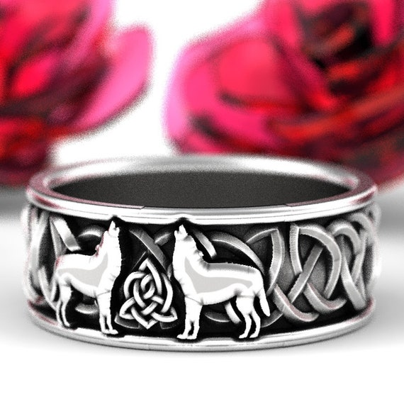 Solid Sterling Silver Celtic Wolf Ring, Wolf Wedding Band, Celtic Animal Ring, Wolf Jewelry, Custom 8mm Size 7.5 1170