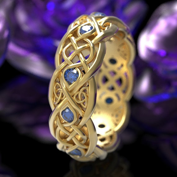 Infinity Wedding Band With Blue Sapphires, Gold Celtic Ring, Unique Wedding Ring, Celtic Wedding Band, 10K 14K 18K Gold or Platinum 1052