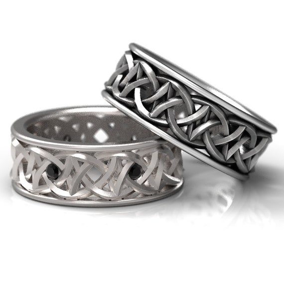 Celtic Love Knot Design Wedding Set in Sterling Silver with Black Spinel, Made in Your Size CR-108