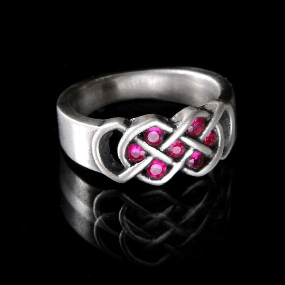 Celtic Ruby Wedding Ring With Infinity Knot Design in Sterling Silver, 10K 14K 18K Gold, Palladium, or Platinum Made in Your Size CR-771