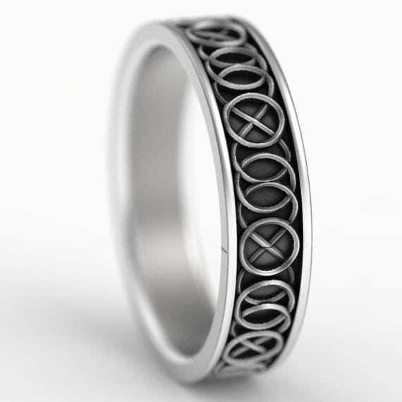 Celtic Wedding Ring With A Five-Fold Motif Design in Sterling Silver, Made in Your Size CR-344