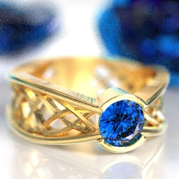 Celtic Sapphire Ring With Interweave Knot Pass Through Design in 10K 14K 18K Gold or Platinum Made in Your Size CR-277b