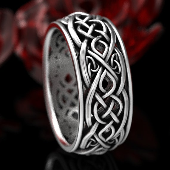 Mens Celtic Wedding Band, Sterling Silver Infinity Celtic Ring, Unique Wedding Ring, Celtic Wedding Band, Handcrafted Size CR1096
