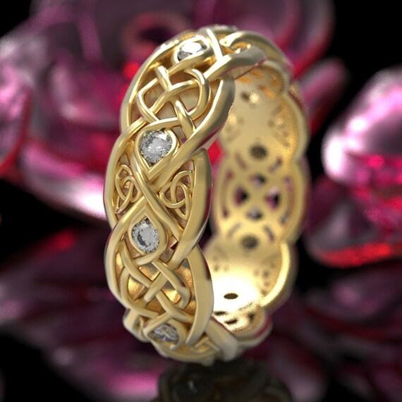 Celtic Ring, Infinity Ring, Gold Moissanite Wedding Band, Gold Celtic Ring, Unique Wedding Ring, Celtic Wedding Band, Gold or Platinum 1052