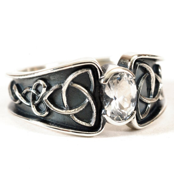 Celtic White Sapphire Ring With Trinity Knot Band Ring Design in Sterling Silver, Made in Your Size CR-17d
