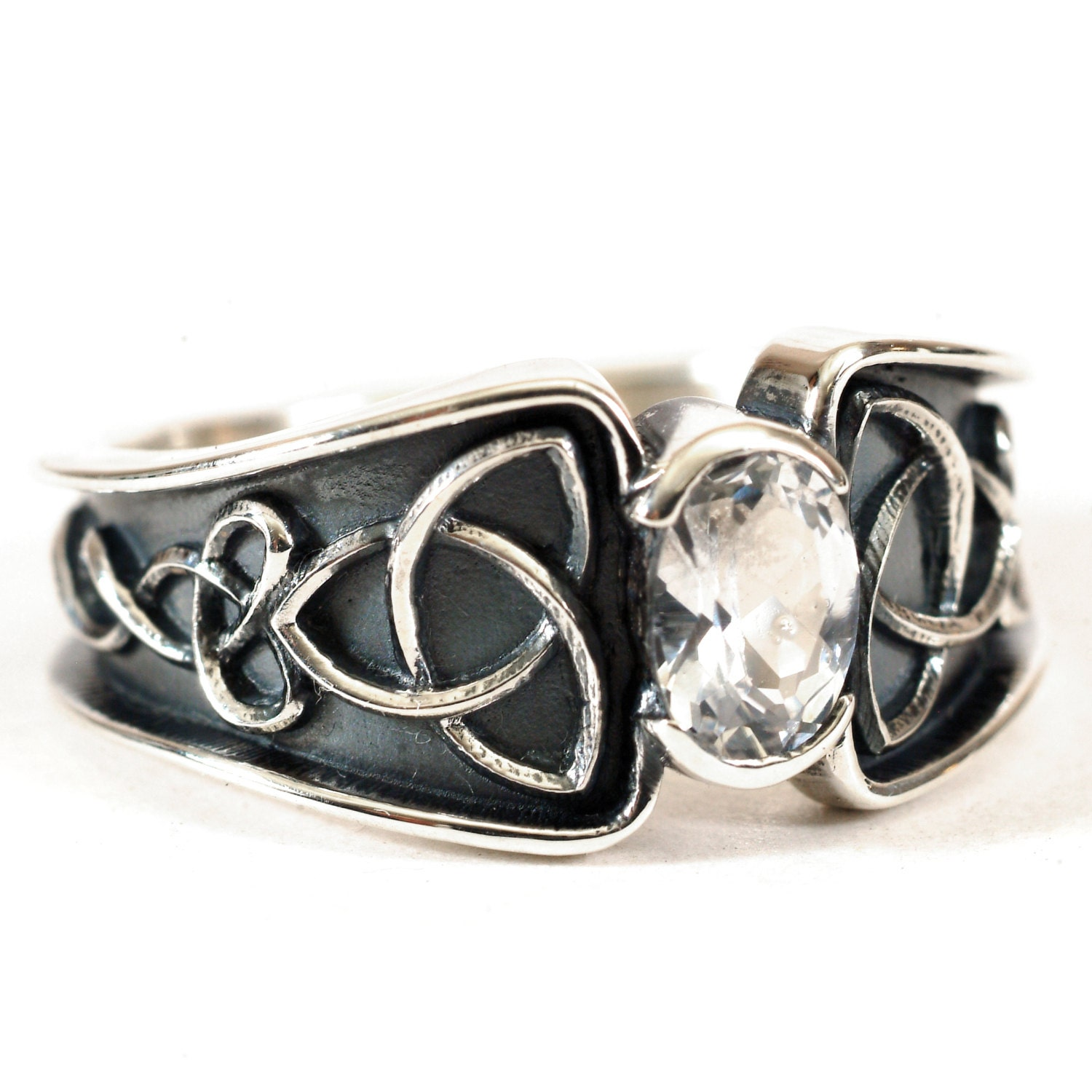 Celtic White Sapphire Ring With Trinity Knot Band Ring