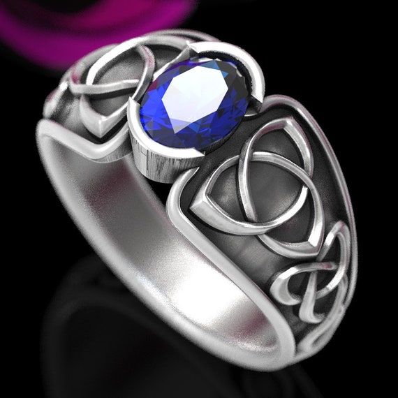 Celtic Blue Sapphire Ring With Trinity Knot Band Ring Design in Sterling, 10K 14K 18K Golds or Platinum Made in Your Size CR-17d
