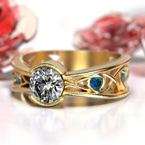Moissanite Sapphire Engagement Ring Celtic Infinity Design 10K 14K 18K Gold or Platinum, White, Yellow or Rose Gold, Custom Size 1092