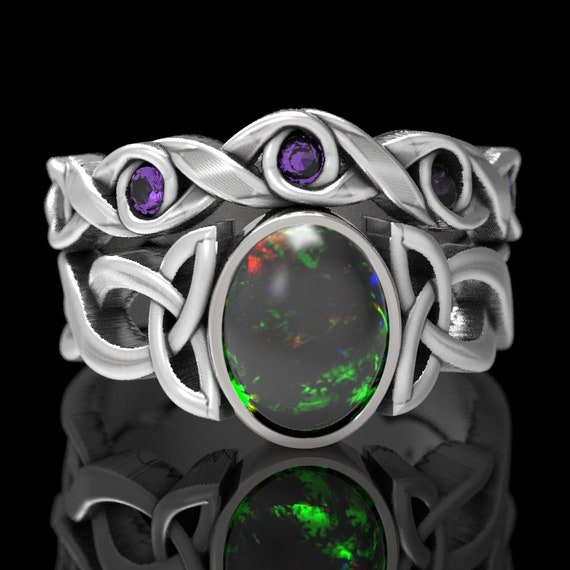 Opal & Amethyst Engagement Ring Set, Sterling Silver Celtic Knot Ring, Opal Celtic Ring, Opal Ring Set, Opal Ring in Your Size CR-1131