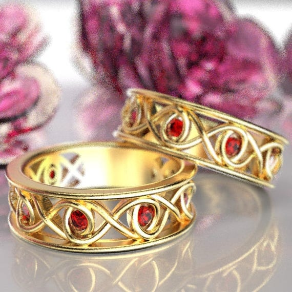 Celtic Ruby Wedding Band Set With Infinity Knot Design in 10K 14K 18K Gold or Platinum Made in Your Size CR-511
