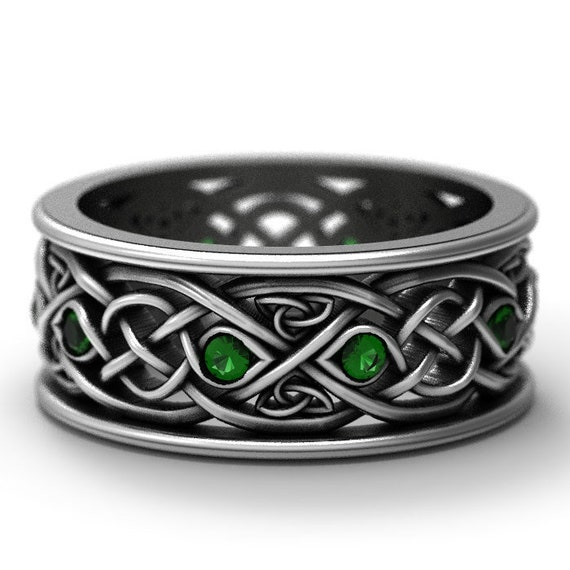 Infinity Wedding Band With Emeralds, 925 Sterling Silver Celtic Ring, Unique Wedding Ring, Celtic Wedding Band, Handcrafted Size CR1096