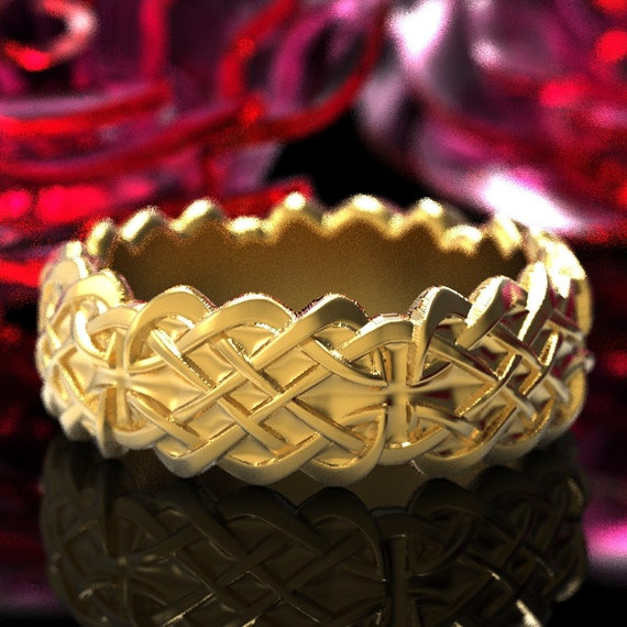 Gold Celtic Wedding Ring With Dara Knot Design & in 10K 14K 18K or Platinum, Made in Your Size Cr-1042