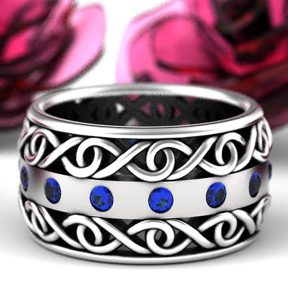 Celtic Wedding Ring With Blue Sapphire and Cut-Through Infinity Symbol Design in Sterling Silver, Wide Wedding Ring, Made in Your Size 510