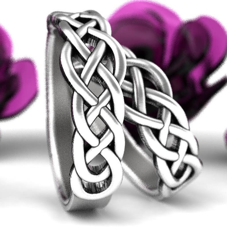 Celtic Knotwork 925 Sterling Silver Wedding Ring Set His and Hers Wedding Bands Celtic Knot Wedding Band Set Made in Your Size CR-763