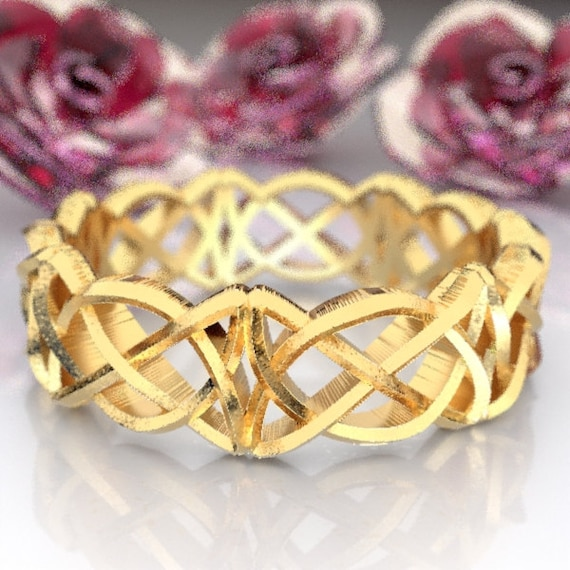 Celtic Wedding Ring With Pretzel Triangle Cut-Through Knotwork Design Made in 10K 14K 18K Gold or Palladium, Made in Your Size, Cr-50