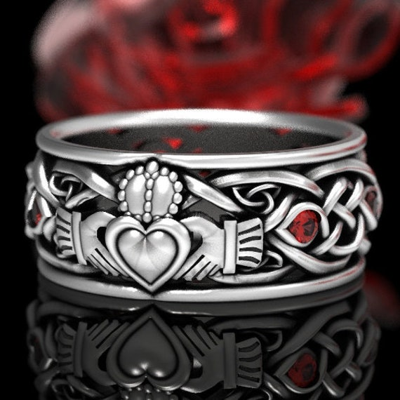 Mens Sterling Silver Celtic Claddagh Ring with Ruby, Modern Claddagh Wedding Ring, Red Trinity Knot Silver Heart Ring, Irish Love Ring 1096