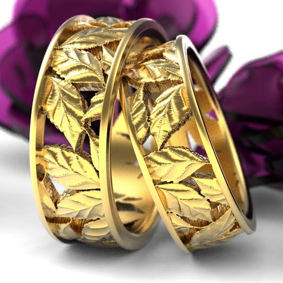 Leaf Ring Wedding Ring Set Custom Made With Cherry Tree Leaves in 10K 14K 18K Gold, Palladium or Platinum Made in Your Size 5103