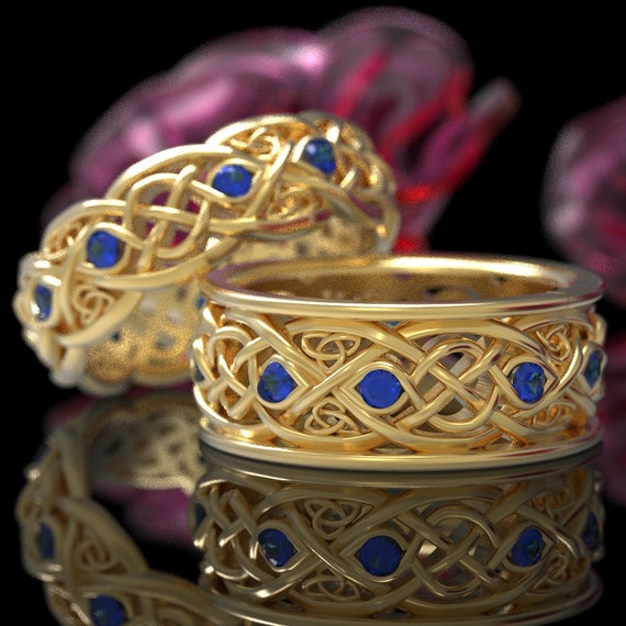 Gold Wedding Band Set With Sapphires, Gold Celtic Ring Set, Celtic Wedding Band, 10K 14K 18K Gold Or Platinum Handcrafted Size 1096 & 1052