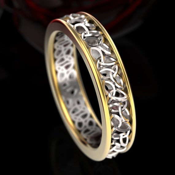 Celtic 2-Tone Gold Wedding Ring With Cut-Through Trinity Knot Design in 10K 14K 18K Gold Platium, Made in Your Size CR-617