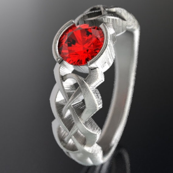 Celtic Ruby Engagement Ring With Personalized Ring Size in Dara Knot Design in Sterling Silver, Handmade Gift CR-414