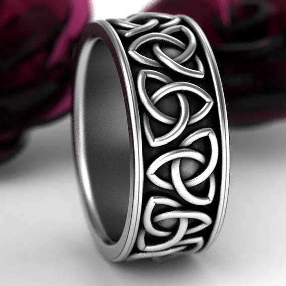 Celtic Trinity Wedding Ring, Trinity Knot Wedding Band, Celtic Wedding Ring in Sterling Silver, Made in Your Size 1181