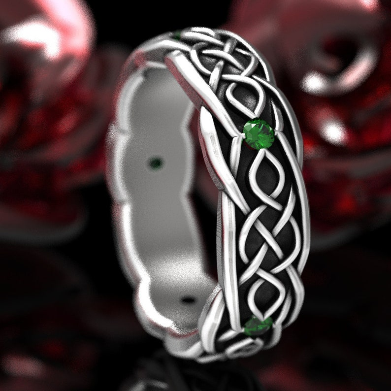 Celtic Wedding Ring With Infinity Symbol Pattern With Emerald image 0
