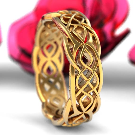Gold Celtic Wedding Ring Partial Cut-Through Infinity Symbol Pattern & Quaternary Knots 10K 14K 18K Gold or Platinum 1209
