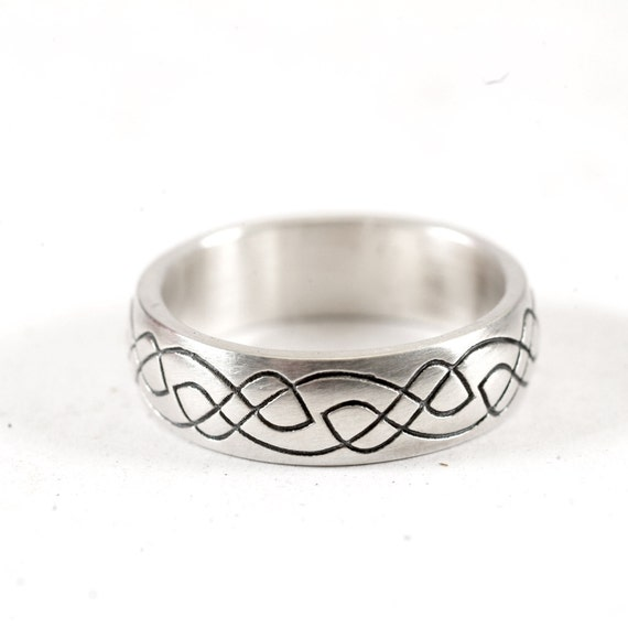 Celtic Wedding Ring With Engraved Woven Knotwork Design in Sterling Silver, Made in Your Size CR-730