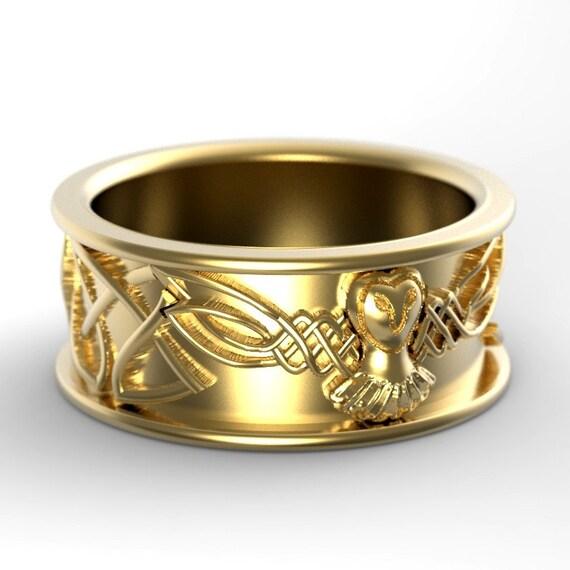 Gold Owl Wedding Ring, Celtic Wedding Rings, Palladium Owl Ring, 10K 14K 18K Gold Palladium or Platinum Irish Wedding Band, CR-1108