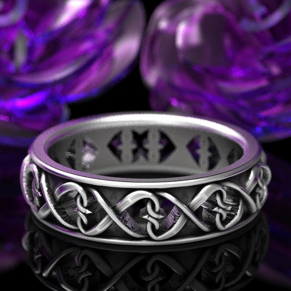 Intertwined Hearts Pattern Ring, Celtic Wedding Ring With Hearts, Unique Heart Symbol Ring in Sterling Silver, Made in Your Size CR-1272
