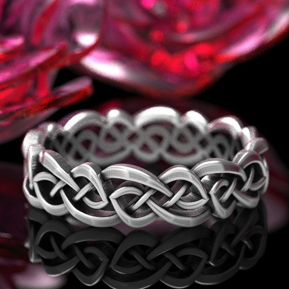 Infinity Wedding Ring, Celtic Knot Ring, Womens Wedding Ring in Sterling Silver, 10K 14K 18K Gold or Platinum, Custom Made Wedding Ring 1044