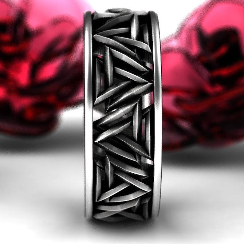 Interlocking Triangles Ring Odin Rune Jewlery Sterling Norse Rune Ring Valknut Knot Viking Silver Ring Set Jewelry Custom Size 1189