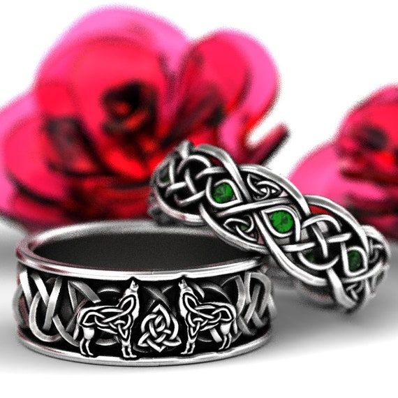 RESERVED FOR Schevelle 3 Payments for Sterling Silver Celtic Wolf & Emerald Ring Set, Celtic Wolf Jewelry, Custom Ring Design 1170 1052