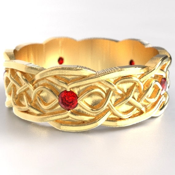 Gold Celtic Wedding Ring With Infinity Symbol Pattern & Ruby Stones in 10K 14K 18K or Palladium, Made in Your Size Cr-1050