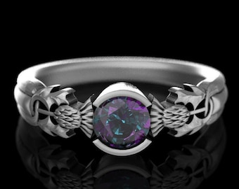 Alexandrite Engagement Ring, Sterling Silver Thistle Ring, Alexandrite Wedding Ring, Alexandrite Solitaire Ring, Scottish Thistle Ring, 5062