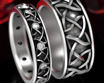 His Hers Sterling Endless Dara Knotwork Celtic Wedding Ring Set, Moissanite Celtic Knot Wedding Ring Set, Sterling Dara Knot Ring 35 + 1352