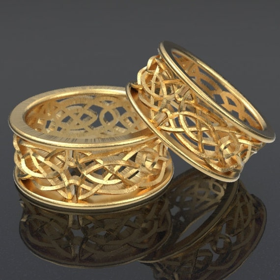 Celtic Wedding Ring Set With Intricate Swirl Cut-Through Knotwork Design in 10K 14K 18K Gold Palladium Platinum Made in Your Size Cr-111