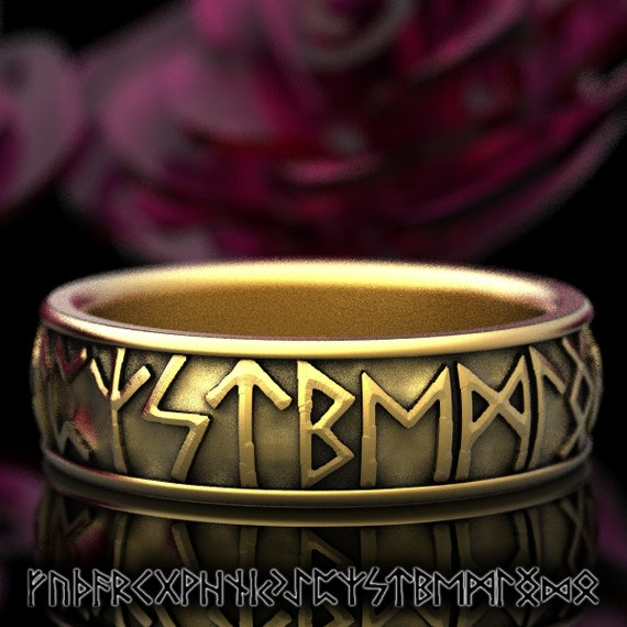 Gold Nordic Rune Ring, Viking Rune Wedding Band, Magical Jewelry, Rune Jewlery, Norse Ring, Made in 10K 14K 18K Gold or Platinum 5101