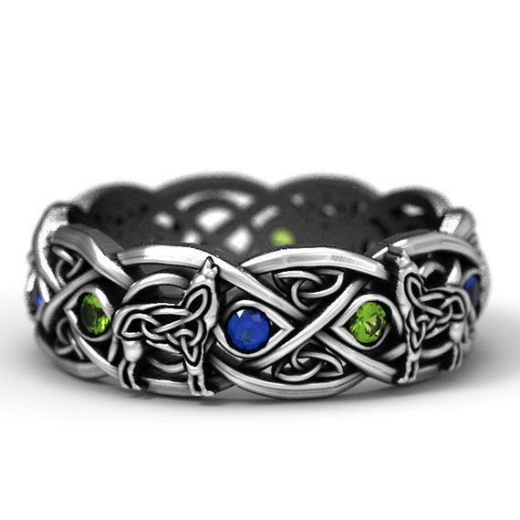 Sterling Silver Celtic Wolf Ring with Alternating Sapphire and Peridot, Eternity Band Celtic Wolf Jewelry, Custom Ring Design 1267