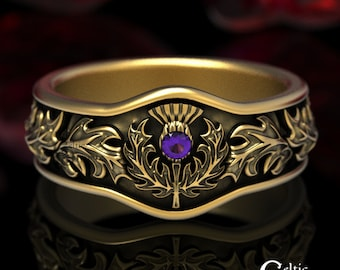 Amethyst Thistle Ring, Gold Thistle Ring, Scottish Thistle Ring, Thistle Wedding Band, Gold Wedding Band, Platinum Wedding Ring, 5043