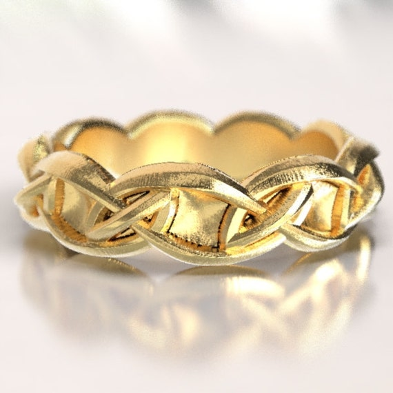 Gold Celtic Infinity Pattern Design in 10K 14K 18K or Palladium, Made in Your Size CR-1074
