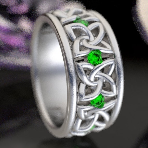 Celtic Wedding Ring with Emeralds in 4 Petal Flower Dara Knot Design Sterling, 10K 14K 18K, Palladium, or Platinum Made in Your Size CR-1010