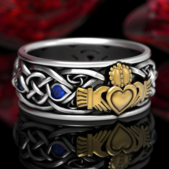 2-Tone Mens Celtic Claddagh Ring with Sapphire, Silver & Gold Claddagh Wedding Ring, Trinity Knot Silver Heart Ring, Irish Love Ring 1096