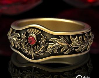 Scottish Thistle Ring, Ruby Gold Wedding Band, Gold Thistle Ring, Thistle Wedding Band, Gold Wedding Band, Platinum Wedding Ring, 5043
